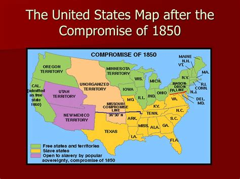 map of the united states in 1850 the missouri compromise of ppt download