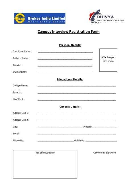 Cus Interview Registration Form Personal Registration Form Template