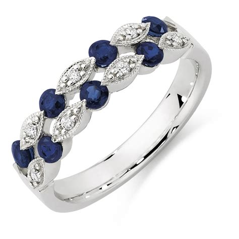 ring with sapphire diamonds in 10ct white gold