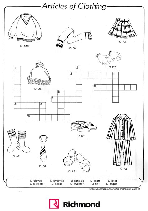design clothes lessons crossword puzzle articles of clothing fun way to