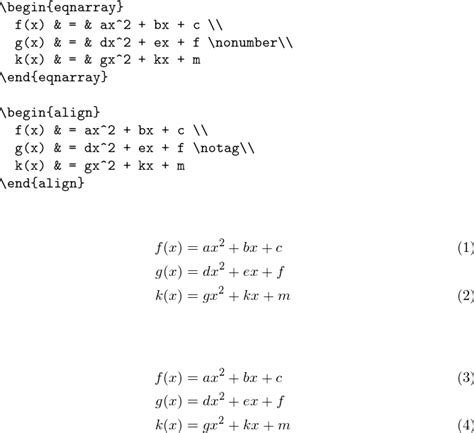 tutorial latex formula equations modify eqnarray to match that of amsmath s