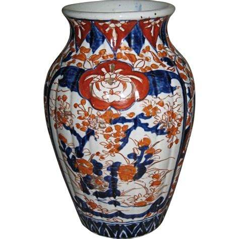 Imari Vase by Japanese Antique Imari Porcelain Fluted Vase From