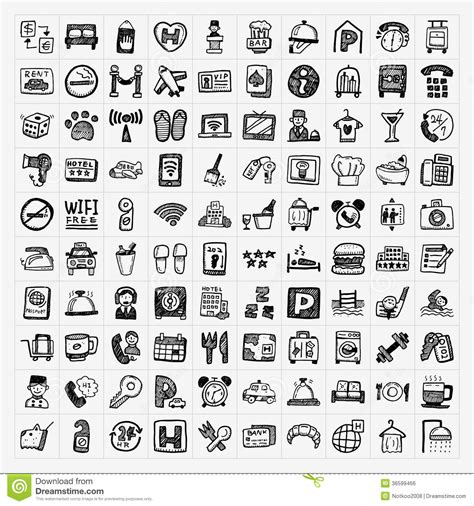 doodle less pool musicas doodle hotel icons set royalty free stock image image