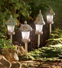 Sunroom Furnishings Fairy Garden Gnome Home Solar Path Lights Set Of 4