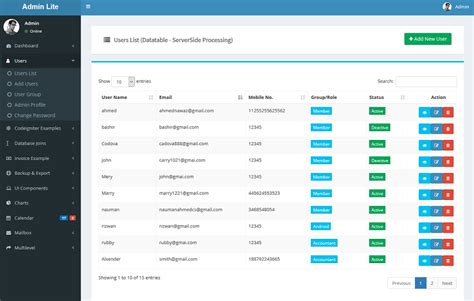 free admin panel template in php admin lite php admin panel crud by codeglamour