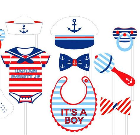 printable sailor photo booth props nautical baby shower photo booth props by lolapaperdoll on