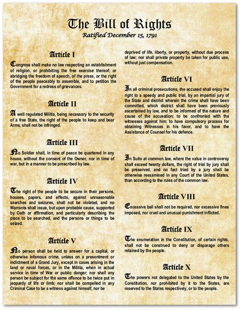 printable version of the us bill of rights bill of rights us constitution large laminated magnetic