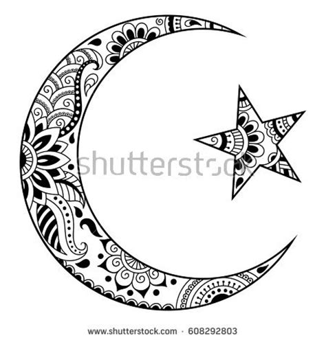 muslim crescent tattoo religious islamic symbol star crescent decorative stock