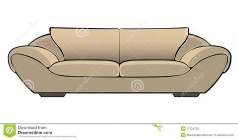 sofa cartoon vector cartoon beige couch isolated on white royalty free