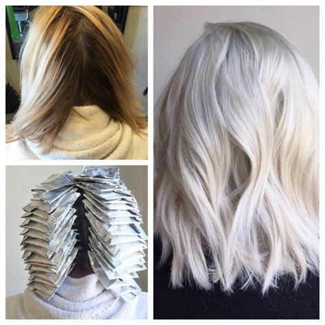 platinum silver blonde balayage transformation from box to balayage blonde to platinum