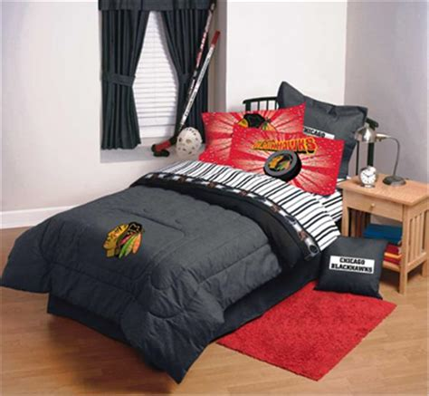 hockey bed chicago blackhawks denim comforter sheet set combo