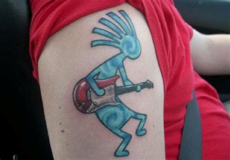 kokopelli face tattoo blue kokopelli on shoulder