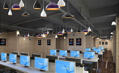 interior lighting design ideas for internet cafe