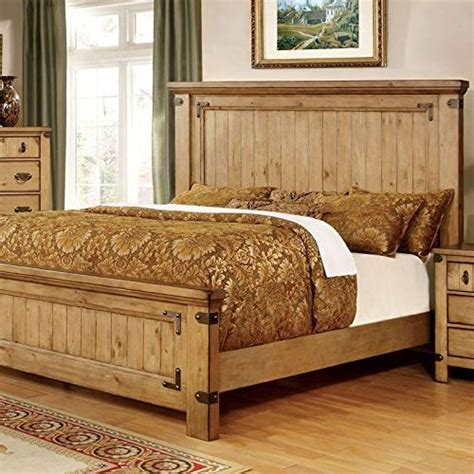 pioneer country style weathered elm finish bed frame set