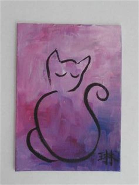 good painting ideas easy acrylic painting ideas cat aceo green cat