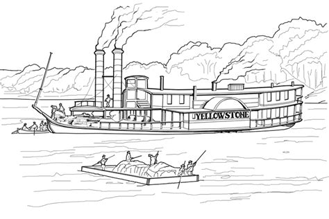 coloring page of mississippi river drawn boat steamboat pencil and in color drawn boat