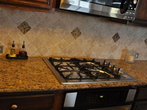 travertine backsplash with santa cecilia kitchen dining