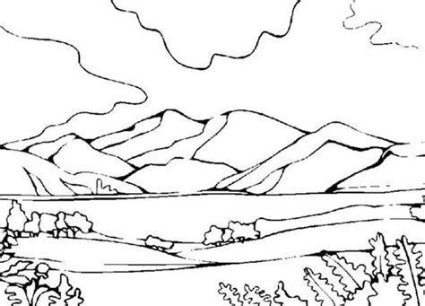 Mountains View Landscapes Coloring Pages Mountains View Mountain Coloring Page 2