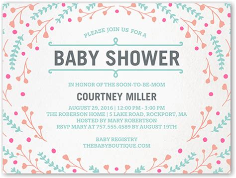 babyshower registry card template the bump floral swirl 4x5 flat baby shower invitations shutterfly