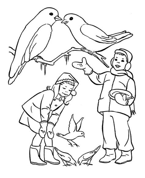 free winter birds coloring pages