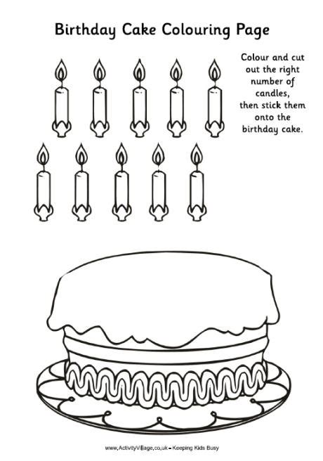 printable birthday cards activity village birthday cake colouring activity