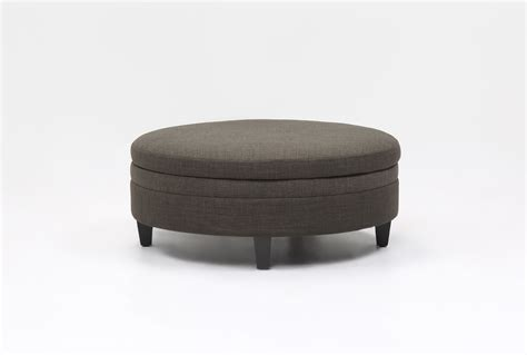 large fabric ottomans adler fabric large round storage ottoman living spaces