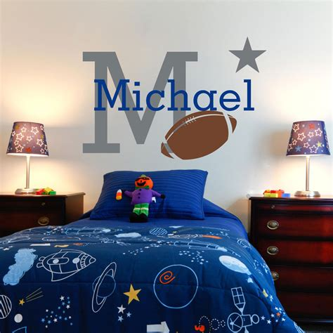 boys name wall stickers boys name wall decal personalized rugby wall stickers