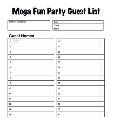 9 Guest List Sles Sle Templates Printable Wedding Guest List Template