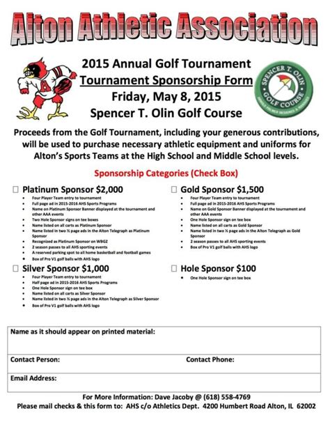 Sponsorship Letter For Football Tournament Alton Athletic Association S Annual Golf Tournament At Spencer T Olin Set For Friday May 8th