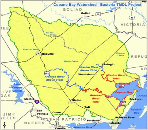 texas watershed map maps data copano bay watershed