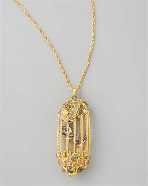 Ring Pendant By Bird by Lyst Bittar Sanctuary Bird Cage Pendant Necklace
