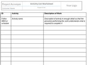 Project Activity Plan Template by Sequence Activities Templates Project Management Templates