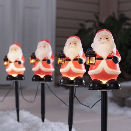 holiday time 4 piece vintage snowman pathway christmas lighted lawn stakes set time 4 vintage santa pathway markers walmart