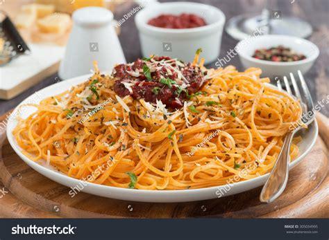 cuisine pasta food pasta tomato sauce cheese stock photo