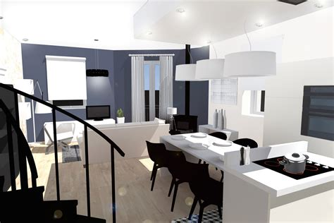 amenagement salon cuisine impressionnant amenagement salon cuisine luxe design 224