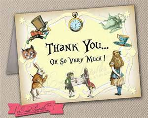 alice in wonderland thank you card in yellow printable folded