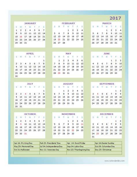 2017 annual calendar design template free printable