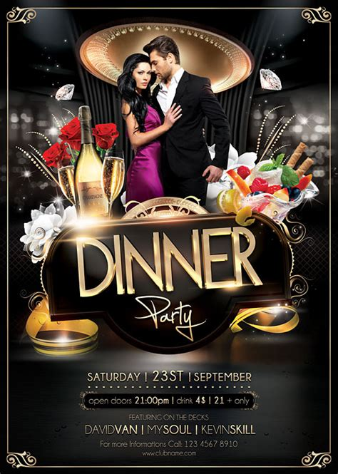 Dinner Party Flyer Template On Behance Dinner Poster Template