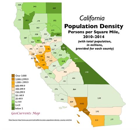 california map by population northern california 3 3 geocurrents