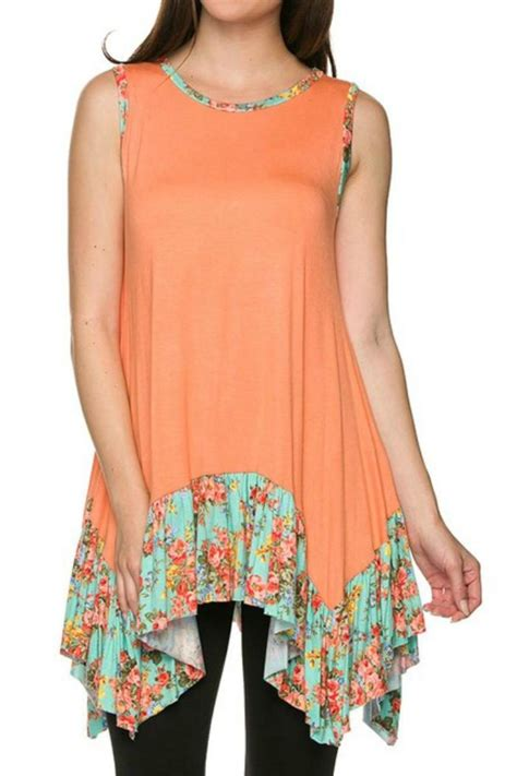 Printed Top 8436 chili peppers boutique sleeveless floral tunic from by chili peppers shoptiques