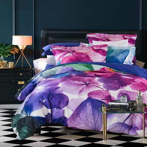 Blue And Purple Bed Sets Violet Purple And Blue Tropical Floral Abstract Design Unique 100 Cotton Damask