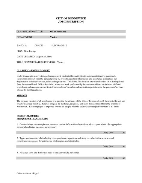 assistant description resume the best letter
