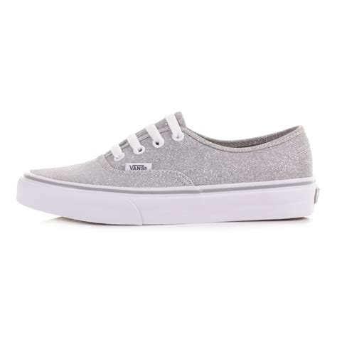 vans flat shoes womens vans authentic silver shimmer flat casual shoes