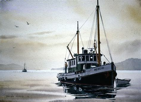 tender fishing boat quot nereid cannery tender quot watercolor in fishing boat