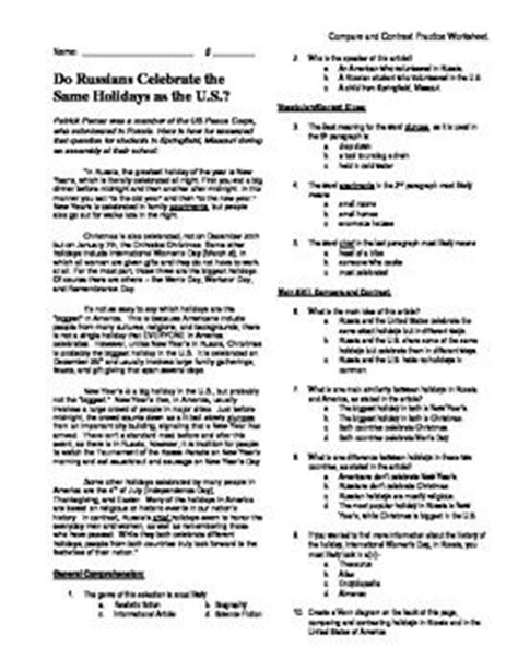 Compare And Contrast Reading Worksheets 5th Grade by 5th Grade Reading Skill Practice Compare Contrast Cc