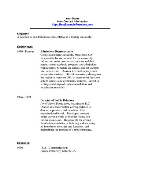 Sle Resume For College Acceptance Resume For College Admissions Representative Mygpsdesk