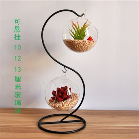 glass home decor flower pots planters glass vase double layer glass ball
