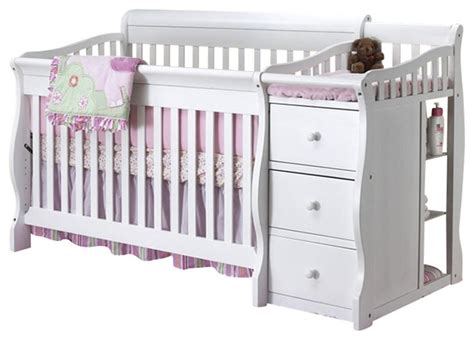 Sorelle Tuscany 4 In 1 Convertible Crib And Changer Combo Sorelle Tuscany 4 In 1 Convertible Crib And Changer Combo In White Transitional Cribs By Cymax