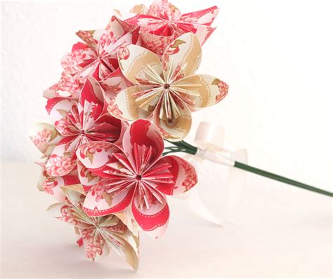 Origami Flower Paper - origami paper flower bouquet pink and beige by anyashop on