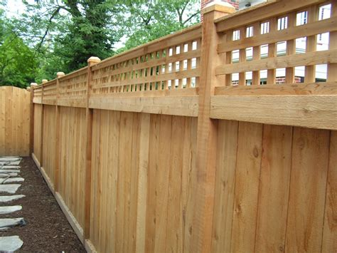 inside fence 6 traditional with square lattice inside view cedar fence cardinal fence supply